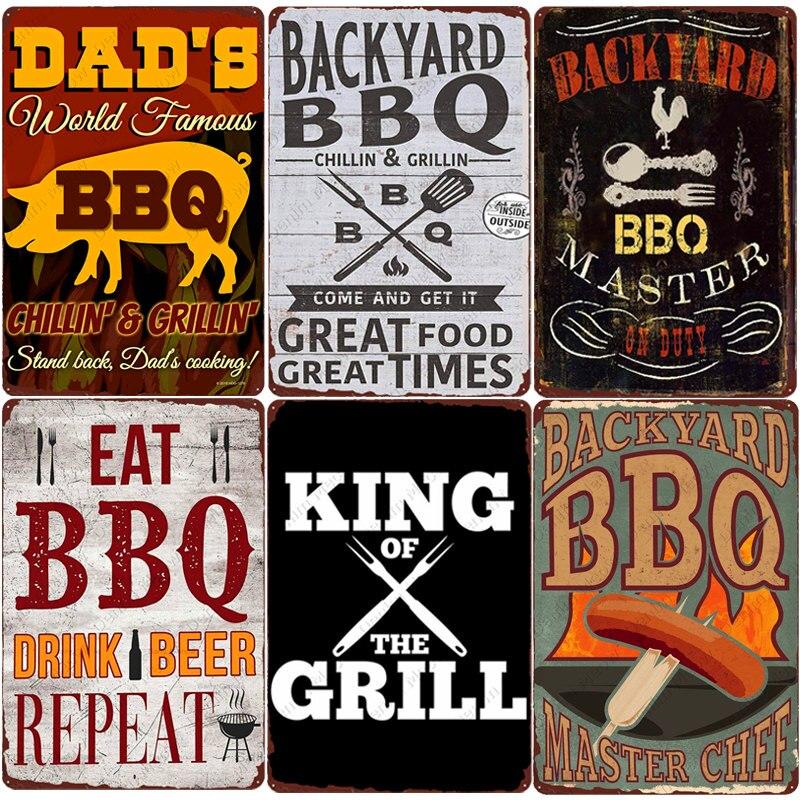 Quintal bbq sinal do vintage grill rei metal estanho sinal bar pub jardim decoração do pai churrasco placa de parede chillin & grillin retro placa n377