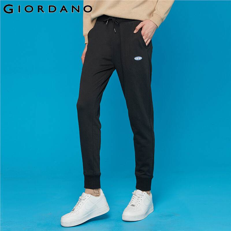 Giordano Men Pants Embroidery Letter Casual Joggers Men Elastic Waistband Banded Cuffs Pantalon Homme Jogger Hombre 13119901