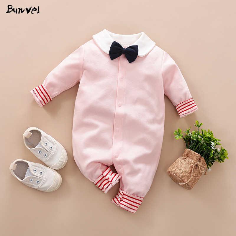 Bunvel bebê recém-nascido meninas roupas playsuit manga longa gravata macacão padrão roupas da menina do bebê recém-nascido traje do bebê