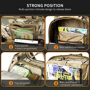 WAR GROUND Military Tactical 1000D Nylon 40L Backpack Mens Travel Bags Sports Camping Hiking Fishing Outdoor Camouflage Bags 3