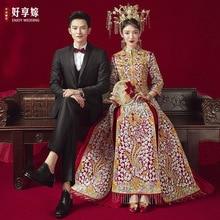 Chinese Vintage Phoenix Embroidery Qipao Bride Banquet Costume Classic Wedding Dress Cheongsam костюм для восточных