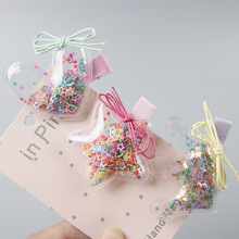 Korea Fashion Colorful Quicksand Transparent Star Love Crown Child Hairpin Girl Exquisite Duckbill Clip Hair Accessories