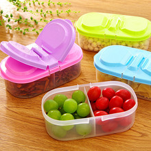 Portable Double Grid Covered Storage Boxes Multifunctional Kitchen Refrigerator Plastic Food Save Sealed Jar Box
