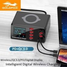 100W 8 Ports USB Ladegerät Schnell Ladung 3,0 Adapter 10W Drahtlose Ladegerät PD 18W Schnelle Smart Ladegerät für iPhone 11 XR Samsung Xiaomi