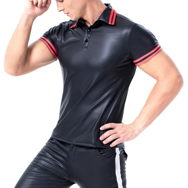 Mens T-shirts PU Leather Short Sleeve Body Shapers Streetwear Plus Size Undershirts Party Clubwear Sexy Shirts Tee Chemise XXL 3