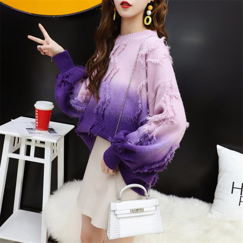 Tassel Pullover Women Loose Gradient Long Sleeve Thicken Warm Knit Jacket Autumn 2019 New Casual Style