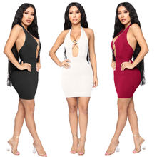 2019 Summer New Sexy Deep V Neck Halter Backless Bodycon Dress Women Solid Package Hip Night Club Party Mini Dress Black Vestido(China)