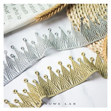 2yards Gold Silver Circle Mountain Shape Embroidered Home Curtain Diy Decoration Stage Clothing Hollow Lace Trims Accessories 4meters 4cm eco friendly sequins lace trims 3d gold silver lace ribbons for stage dance dress belt sewing accessories