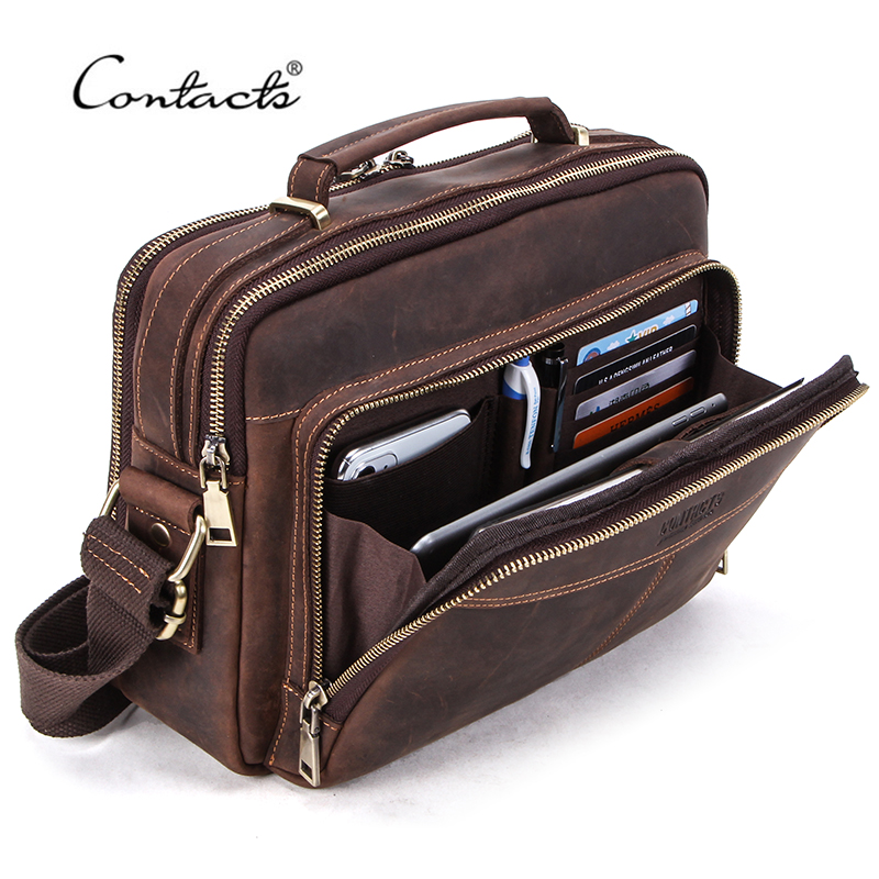 CONTACT'S Crazy Horse Leather Men Messenger Bag Vintage Man Crossbody Bag Handbags Large Capacity Male Shoulder Bags Bolsos