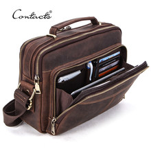 CONTACT'S Crazy Horse Leather Men Messenger Bag Vintage Man Crossbody Bag Handbags Large Capacity Male Shoulder Bags Bolsos(China)