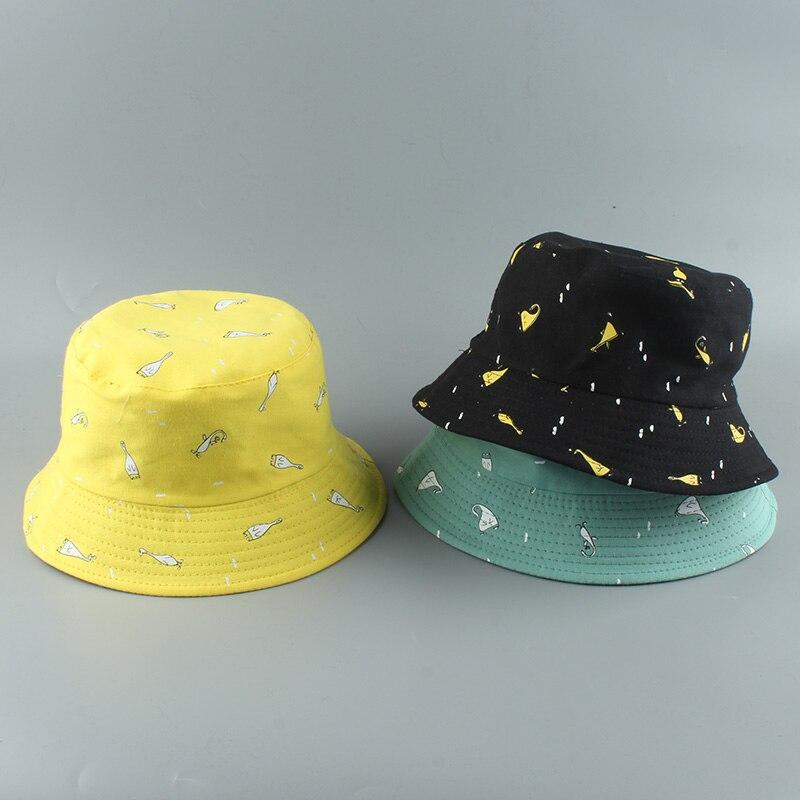 Panama Bucket Cap Unisex Cotton Cartoon Bucket Hat Men Women Bob Cap Hip Hop Outdoor Sport Summer Fishing Hat