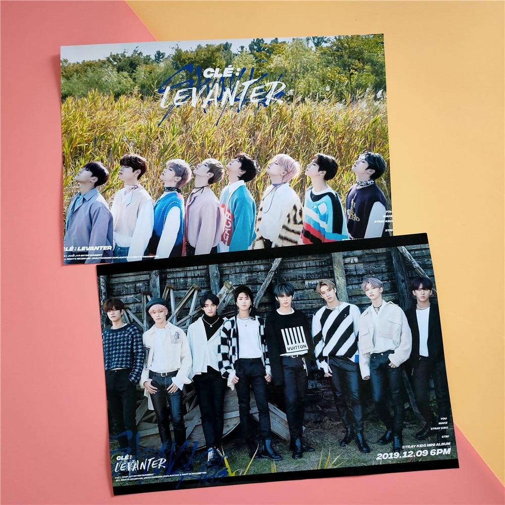 2pcs/set 21*30cm Kpop Stray Kids Poster New Album LEVANTER Photo Self-adhesive HD Album Poster Sticker Bang Chan Felix Hyunjin
