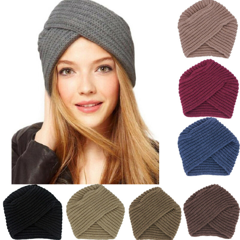 Women Chemo Turban hat Solid Cross Muslim Cap Hat Beanie Wrap Scarf Cap Stretch Crossed Indian hat Bottom hat