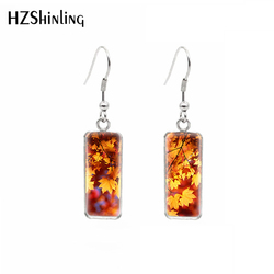 2019 New Arrival Autumn Fall leaves Stainless Steel Square French Hook Earring Dangle Sweet Summer Accessory Jewelry