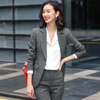 High Quality Autumn and Winter Business Womens Suit Two-piece Fashion Striped Ladies Jacket Casual Pants Office Work Clothes