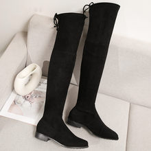 2019 Women Shoes Over the Knee Boot Low Heels Elastic Flock Long Tight High Booties Winter Sexy Thin Leg Black Plus Size Black(China)