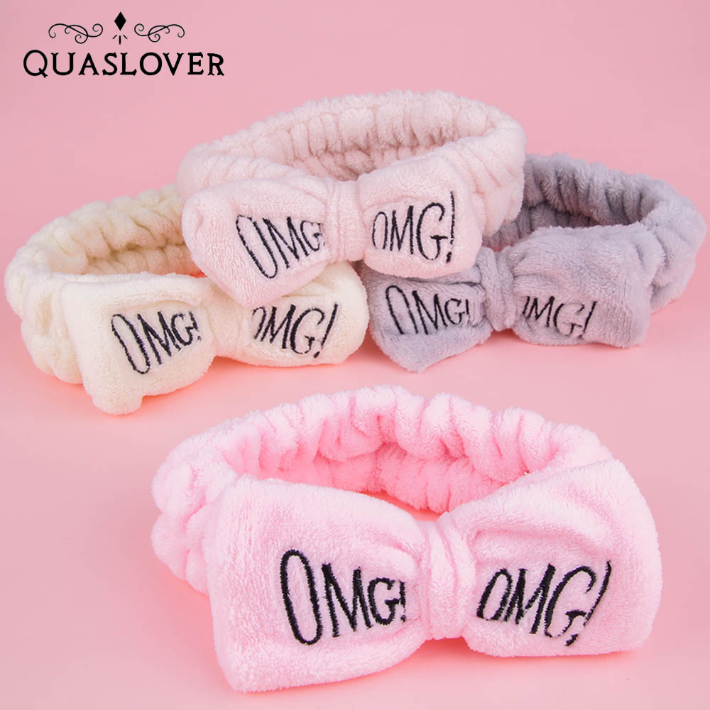 Letter OMG Women Girl Hair Accessories Hairbands Soft Coral Fleece Headband Fashion Wash Face Holder Turban Accessories For Hair