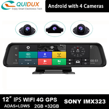 Rearview-Mirror Center-Console Car-Dvr-Camera ADAS Panoramic-View 4-Channel 12inch Dashcam
