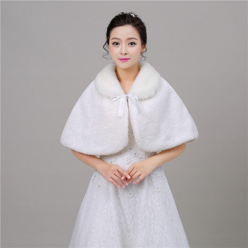 Bridal Wedding Wrap Shawl Faux Fur Warm Short Capes Winter Fashion Women Cloak Accessories For Evening Party Hochzeits-Wrap