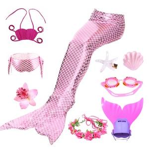 Image 2 - Женский купальный костюм Русалочки, 9 шт./компл., купальный костюм с хвостом, моноласт, бикини для девочек