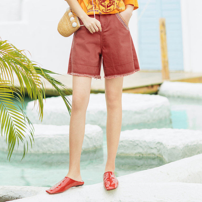 INMAN 2020 Summer New Arrival Cotton High Waist Contrast Color Embroidered Fashion Pant