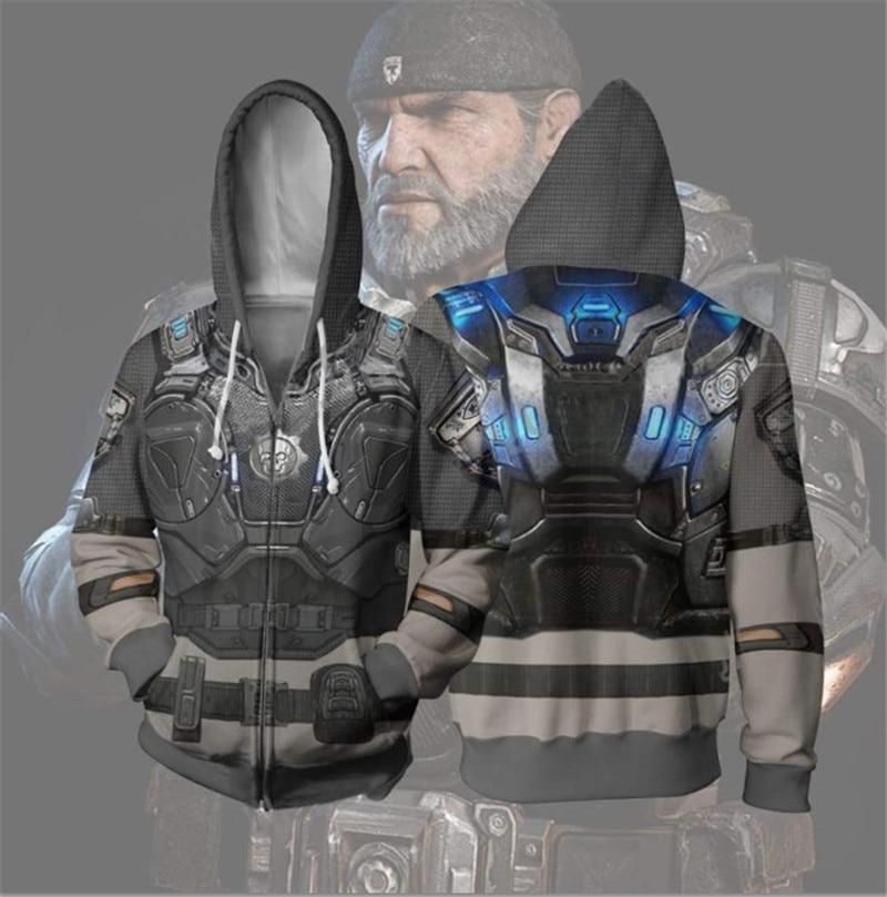 Gears Of War Marcus Fenix Costume 3D Printing Gears Of War Hoodie Jackets Cosplay Mens Hoodies Hip Hop Men Sports Sweatshirts
