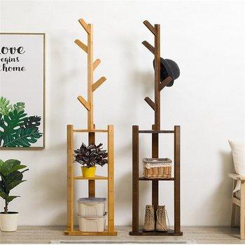 36x180cm Bamboo Floor Coat Rack Living Room Bedroom Standing Clothes Hanger Storage Rack Holder Shelf 5 Hooks Home Furniture