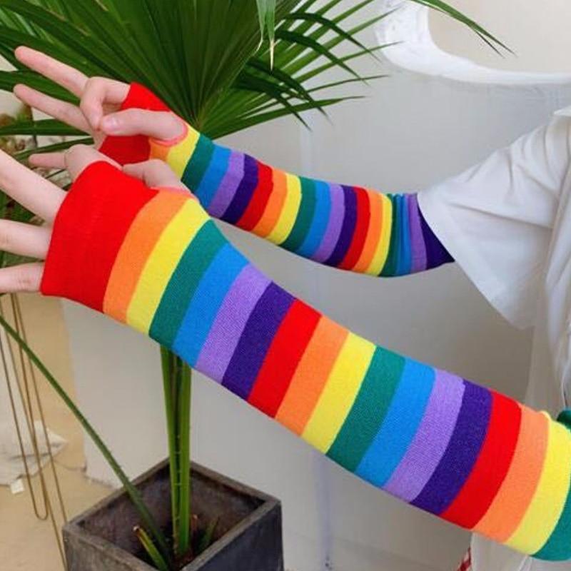 Women Girl Harajuku Elbow Length Fingerless Arm Sleeve Warmer Rainbow Colored Striped Knitted Sunscreen Gloves