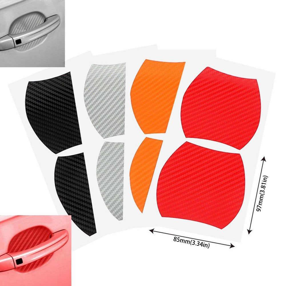 4 قطعة 3D الكربون الألياف سيارة المضادة للخدش سيارة ملصقا العالمي للماء المضادة للخدش مقبض باب السيارة ملصق سيارة شكل