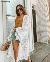 GypsyLady Summer Sunshine Embroidered Mesh Longline Kimono White Tunic Beach Kaftan New Holiday Long Boho Blouse Shirt