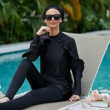 Burkini Long Mujer Muslim Swimwear 3 Pieces Abaya Dubai Arabic Women Swimsuits Turkey Maillots De Bains Musulmans Ensemble F2966