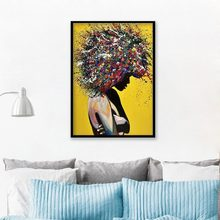 Color Graffiti Explosion Head Portrait Canvas Painting Abstract Character Model Art Poster Home Decoration Painting Pictures(China)