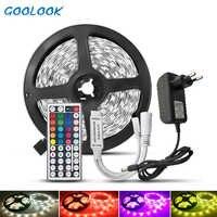 5M SMD 5050 LED tira de luz DC12V RGB tira impermeable Led cinta diodo tira de neón Flexible luz LED con adaptador de controlador