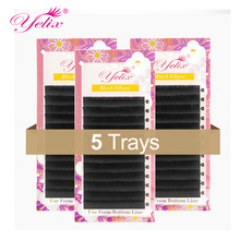 Matte Black Flat Eyelashes Extension Mink Ellipse Eyelash False Lashes Extension Split Tips Natural Light Soft Lash 5PCS
