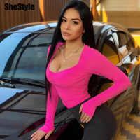 Shestyle Aderente Sexy Neon Arancione Body e Tutine Donna Autunno 2019 Manica Lunga Solid Inverno il Corpo Di Base Del Vestito Femminile O Collo Nero rosa