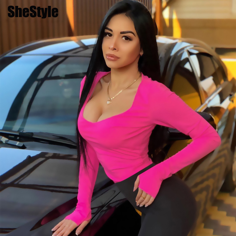 Shestyle Bodycon Sexy Neon Orange Bodysuits Women Autumn 2019 Long Sleeve Solid Winter Basic Body Suit Female O Neck Black Pink