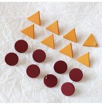 10 sztuk/zestaw kolczyki DIY ustawienie Hanmade trójkąt okrągły wkręt kolczyki Conectors kolorowe kolczyki baza na komponenty do wyrobu biżuterii