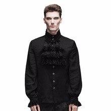 Devil модная Мужская Готическая рубашка с воланом и галстуком вечерние блузки с длинными рукавами