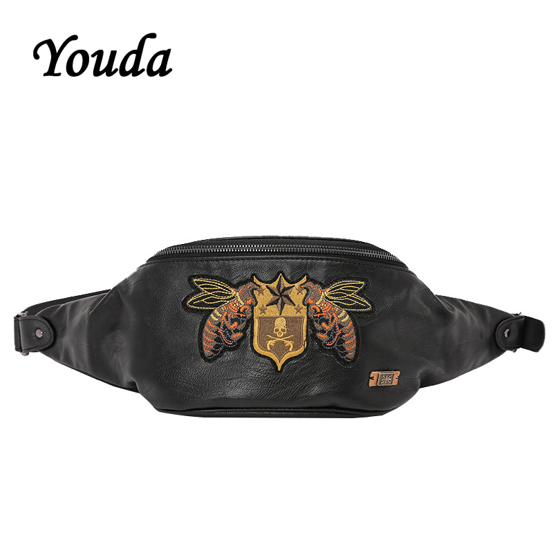 Youda Youth Fashion Mobile Phone Pouch Unisex Small Chest Bag Embroidery Rivet Large Capacity Portable Waist Pack
