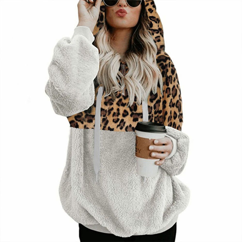 Leopard Teddy Sweater Hooded Oversized Sherpa Pullover New Plus Size 5XL Fluffy Feece Sweaters Female Leopard Warm Streetwear