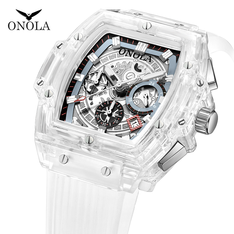 ONOLA Transparent Plastic Square WristWatch Men 2019 Multifunctional Fashion Casual Sport Unique White Tonneau Quartz Men Watch
