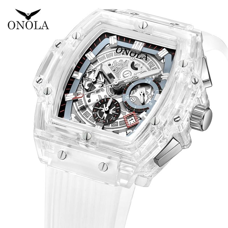 Часы наручные ONOLA мужские с прозрачным пластиковым циферблатом, многофункциональные модные повседневные спортивные Уникальные кварцевые, ...