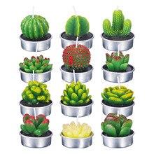 12Pcs/set 3D Cactus Candle Simulated Plant Set Home Decoration Candle Tea Light Decor Garden Simulation Plant Decorative