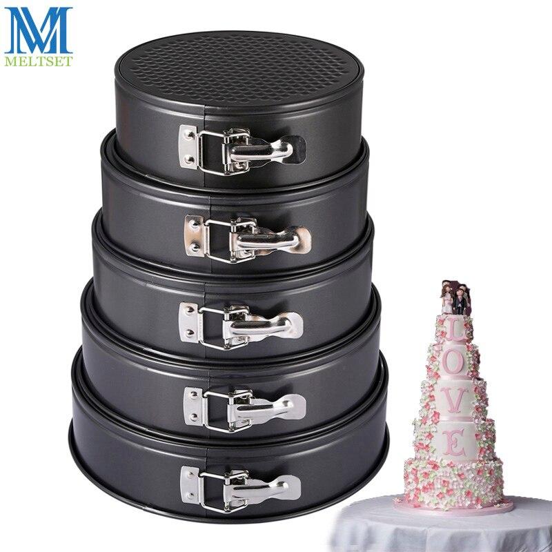 Bolo de cozinha assadeira forma redonda não-vara molde de bolo de aço springform pan conjunto removível fundo ferramentas de decoração do bolo