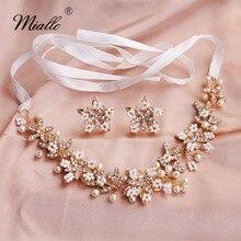 Miallo Fashion Gold Flowers Headband with Earrings Austrian Crystal Pearls Wedding Hair Jewelry Handmade Bridal Headpieces