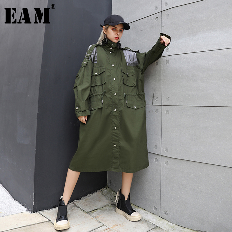 [EAM] 2019 New Autumn Winter Stand Collar Long Sleeve White Mesh Drawstring Big Size Windbreaker Women Trench Fashion JU1880