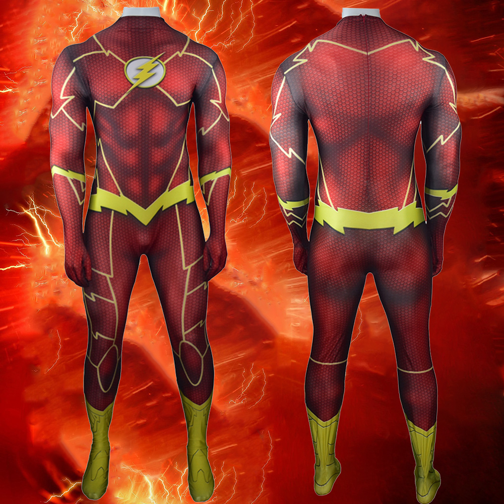 The Flash Costume Cosplay 3D Shade Lycra Spandex Halloween Superhero Barry Allen Zentai Bodysuit Suit Jumpsuits Fullbody Zentai