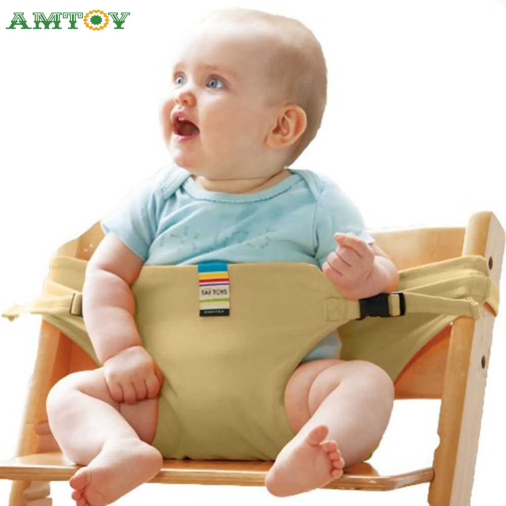 AMTOY Baby Portable Seat Kids Chair Travel Foldable Washable Infant Dining High Dinning Cover Seat Safety Auxiliary Belt