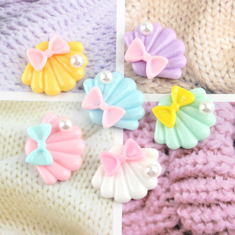 10 Pcs/lot Cute Cartoon DIY Resin Patch Pearly Shells Figurine Crafts Toy Hair Storage Box Accessories Kids Craft Toy
