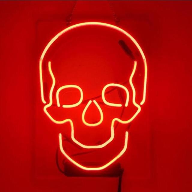 Barre de bière de signe de néon en verre de crâne personnalisé